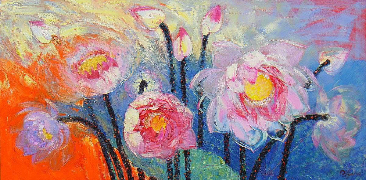 Sen Tây Hồ - đặng đình ngỡ tranh hoa sen